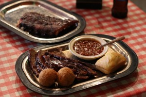 Smoked BBQ Ribs and Brisket Meal